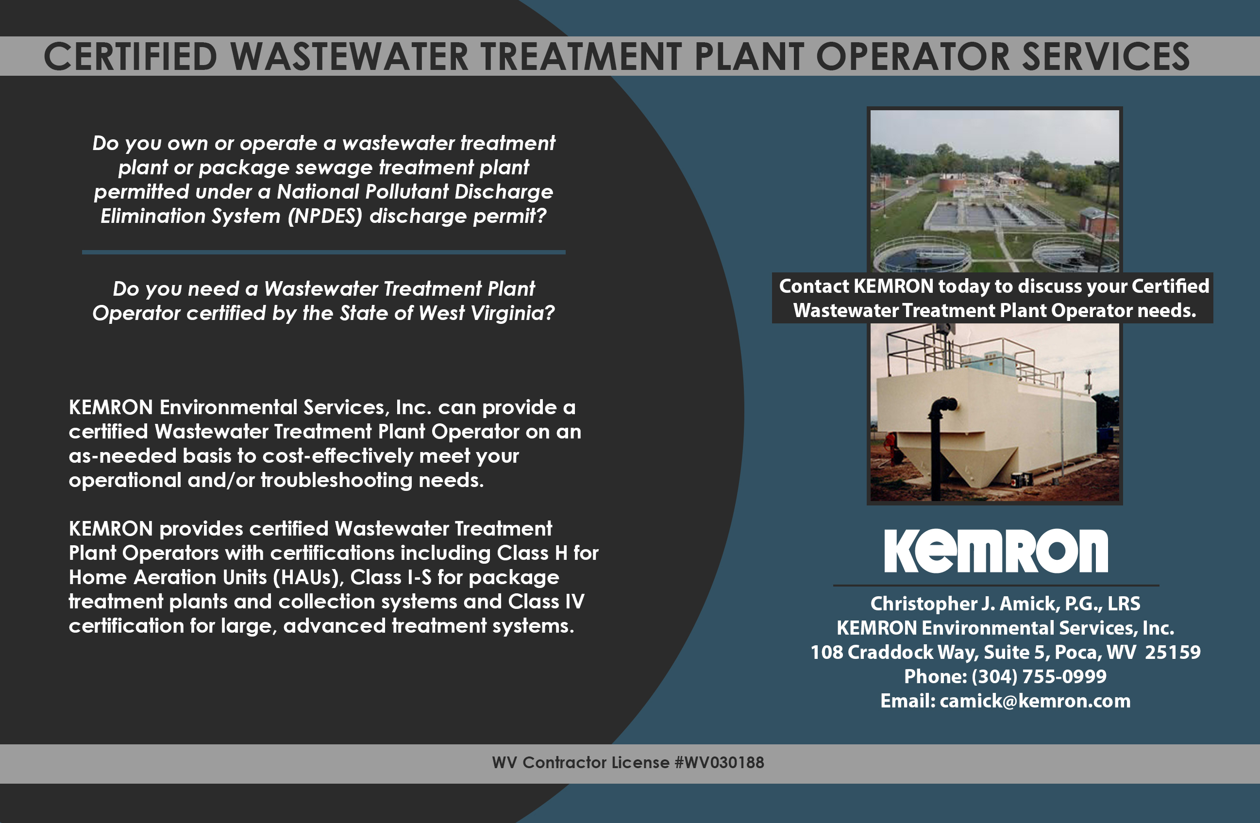 Wastewater Treatment Plant Operator Services Kemron Environmental